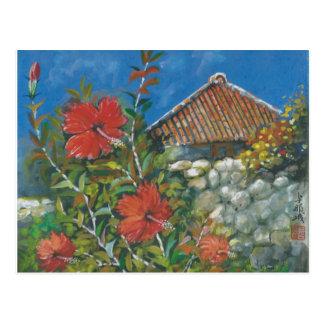 Malerei-Postkarten-Hibiskus und Okinawan Haus Postkarte