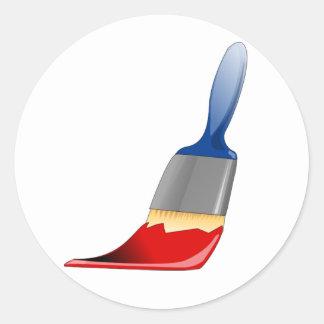 Malerpinsel-Aufkleber Runder Aufkleber