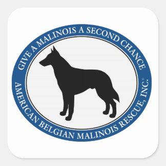 Malinois Rettungs-Logo, quadratischer Aufkleber