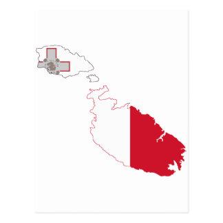 Malta-Flaggenkarte Postkarte