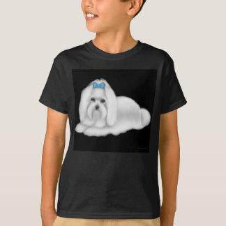Maltesischer Hund scherzt dunklen T - Shirt