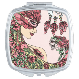 Malvenfarbenes rosa taschenspiegel