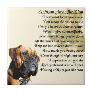 Mama-Gedicht - Boxer-Hundeentwurf Fliese