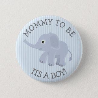 Mama, zum Elefant-blaues gestreiftes Runder Button 5,7 Cm