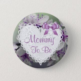 Mama, zum lila Blüten-Baby-Duschen-Knopf zu sein Runder Button 5,7 Cm