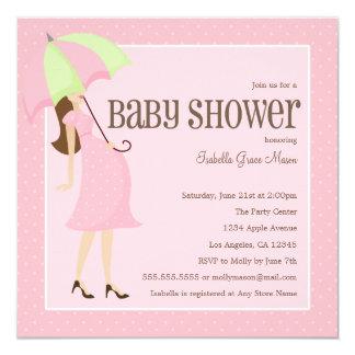 Mama zum zu sein - Babyparty des Rosa-| laden ein Quadratische 13,3 Cm Einladungskarte
