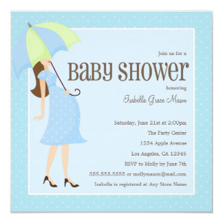 Mama zum zu sein - blaue | Babyparty laden ein Quadratische 13,3 Cm Einladungskarte