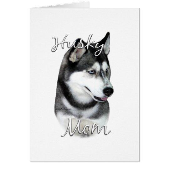 Mamma 2 des Husky-(Schwarzes) Grußkarte