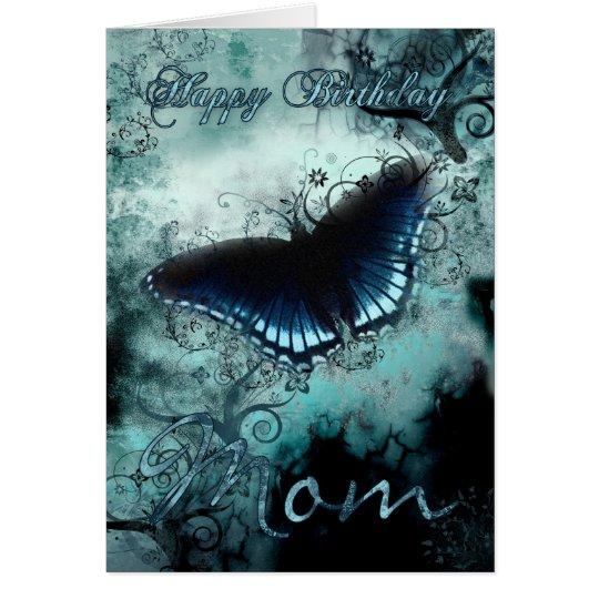 Mamma-Schmetterlings-Geburtstags-Karte - blaue Karte