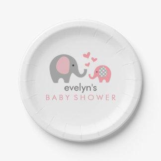 Mamma-und Baby-Elefant-Babyparty-Pappteller-Rosa Pappteller 17,8 Cm