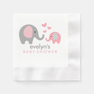 Mamma-und Baby-Elefant-Babyparty-Servietten-Rosa Papierserviette