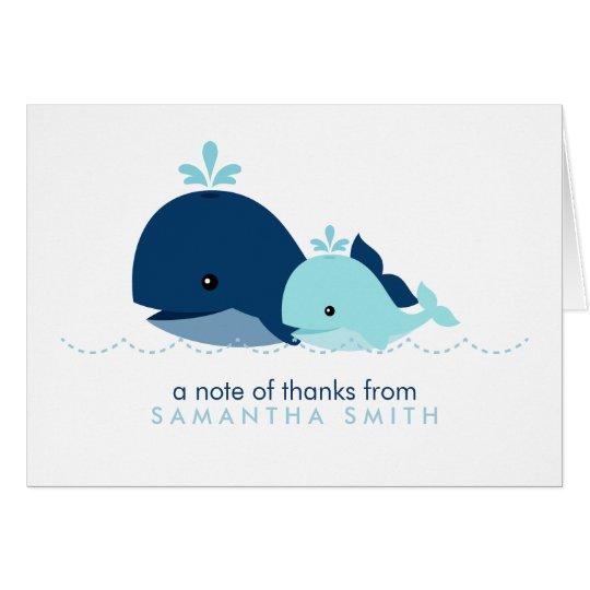 Mamma-und Baby-Wal-Babyparty {blau} Mitteilungskarte