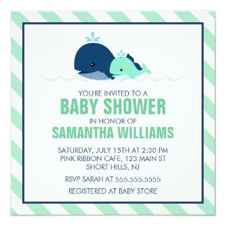 Mamma-und Baby-Wal-Babyparty Quadratische 13,3 Cm Einladungskarte