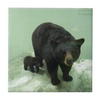 Mamma und Junges des schwarzen Bären Keramikfliese