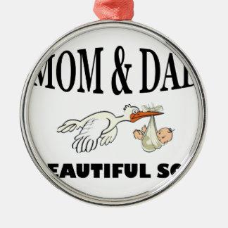 Mamma-Vati und schöner Sohn Silbernes Ornament