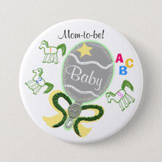Mamma, zum gelbe Stern-Pferdegeklapper-Babyparty Runder Button 7,6 Cm