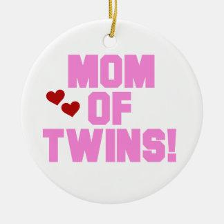 Mamma Zwillings-der rosa Text-Geschenke Keramik Ornament