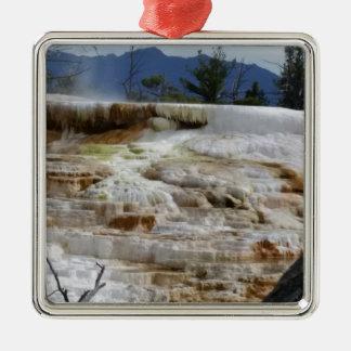 Mammoth Hot Springs Quadratisches Silberfarbenes Ornament