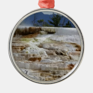 Mammoth Hot Springs Rundes Silberfarbenes Ornament