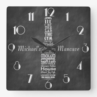 Mancave Tafel-Retro Kreide personalisiert Quadratische Wanduhr