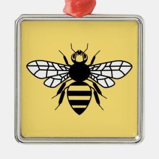 Manchester-Biene Quadratisches Silberfarbenes Ornament