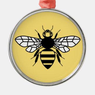 Manchester-Biene Rundes Silberfarbenes Ornament