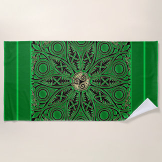 Mandala-Badetuch Iren-Kelly grünes Triskele Strandtuch