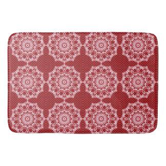 Mandala blanc sur le motif rouge de mosaïque tapis de bain