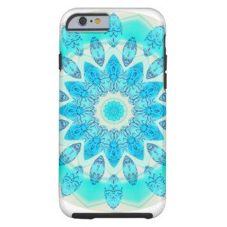 Mandala bleu d'étoile de glace, lumière joyeuse coque tough iPhone 6