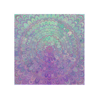 Mandala-Blume in hellblauem und in Lila Holzdruck