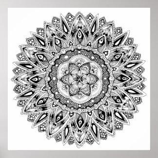 Mandala de fleur avec la graine de la vie poster
