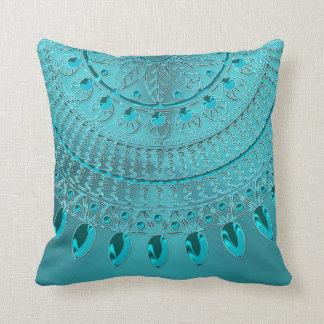 Mandala élégant de vert bleu de turquoise coussin décoratif