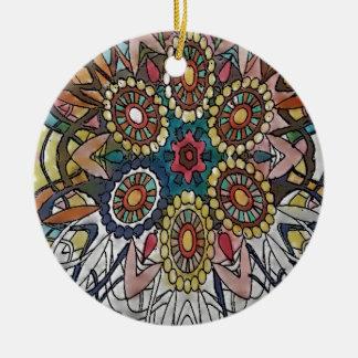 Mandala-Farbton-Seiten-Geschenke Rundes Keramik Ornament