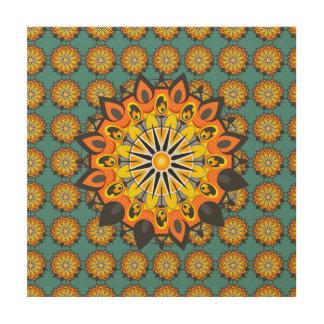 Mandala-Gelb Holzleinwand