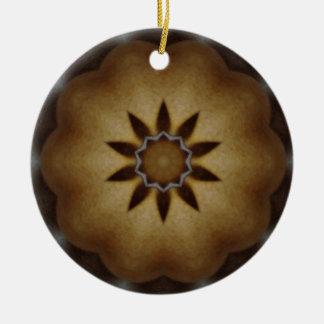 Mandala-hölzernes Blick-Weihnachten Rundes Keramik Ornament