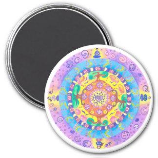 Mandala-Meditation Runder Magnet 7,6 Cm