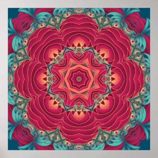 Mandala rouge de Lotus Poster