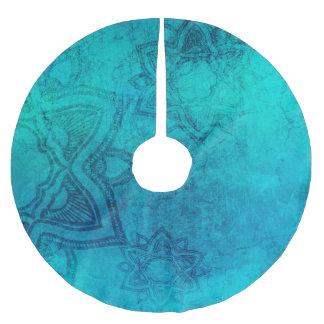 Mandala-Schneeflocke-blauer Weihnachtsbaum-Rock Polyester Weihnachtsbaumdecke