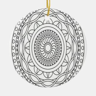 Mandala, Schwarzweiss, abstrakt, Färbung, abstrakt Rundes Keramik Ornament