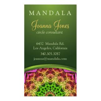 Mandala vert de fleur carte de visite standard