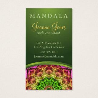 Mandala vert de fleur cartes de visite