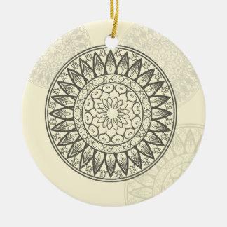 Mandala weich im Gelb Rundes Keramik Ornament