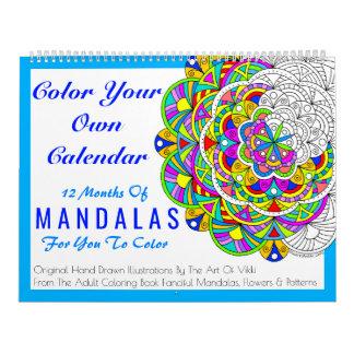 Mandalas färbt Ihre eigene personalisierte Farbe Kalender