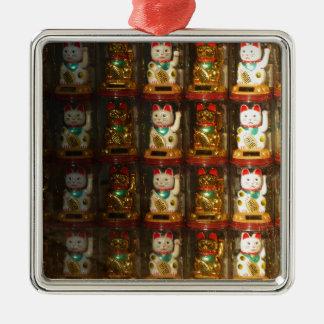 Maneki-neko, Winke-Glueckskatzen, Winkekatze Silbernes Ornament