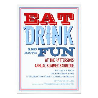 Mangez, buvez et ayez l'amusement à une partie de carton d'invitation  11,43 cm x 15,87 cm