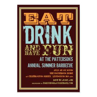 Mangez, buvez et ayez l'amusement à une partie de carton d'invitation  12,7 cm x 17,78 cm
