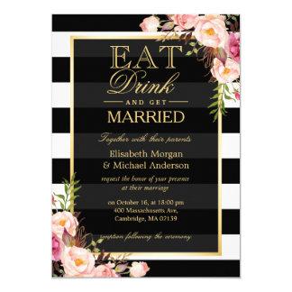 MANGEZ la boisson et soyez mariage floral d'or Carton D'invitation 12,7 Cm X 17,78 Cm