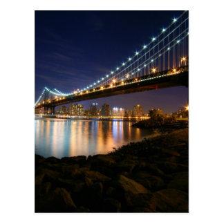 Manhattan-Brücke nachts Postkarten