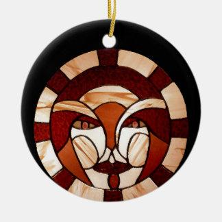 Mann in der Mond-Buntglas-dunklen Nacht 2 Keramik Ornament