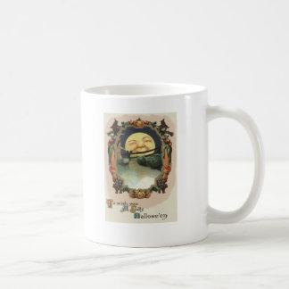Mann in der Mond-Kürbislaterne-Hexe Kaffeetasse